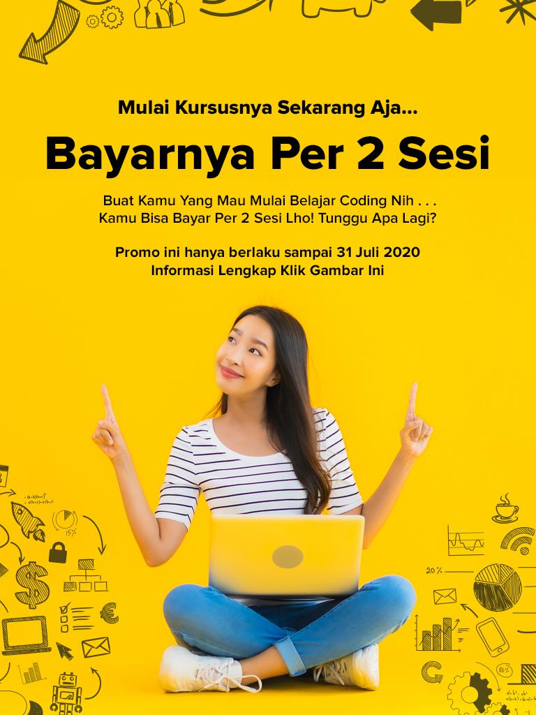 promo pay per session kursus programming coding Onetwocode Indonesia dirumahaja covid19